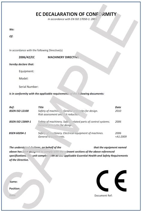ce certificate of conformity template ce compliance iss safety