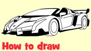 Lamborghini How To Draw How To Draw A Car Lamborghini Veneno Roadster Step By Step