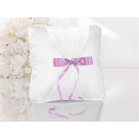 cuscino per le fedi cuscino porta fedi bianco con nastro rosa e cuori