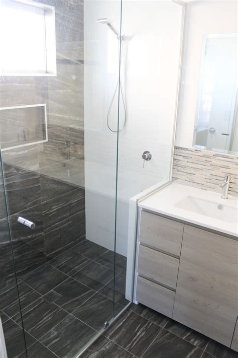 wall  wall shower screen semi frameless shower screen nib wall wood vanity charcoal