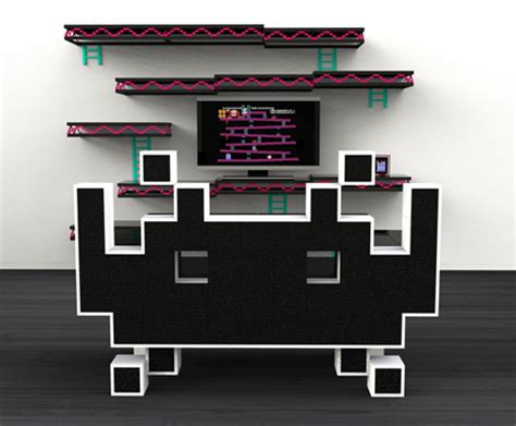 geek sofa geek chic space invader couch and donkey kong shelves