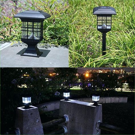 solar powered outdoor l post lights gama sonic baytown ii outdoor black resin solar post light