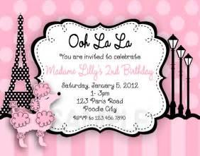 printable birthday invitations paris poodle pink poodle