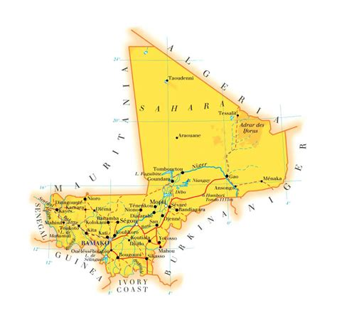 physical map of mali detailed physical and road map of mali mali detailed