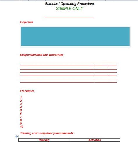 sop template free 37 best standard operating procedure sop templates