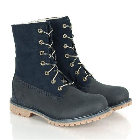 navy timberland boots timberland navy teddy fleece fold boot s boot
