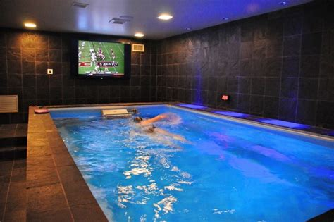 endless pool in basement house plans