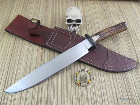 Handmade Bowie - unmarked custom handmade stag bowie c knife