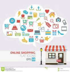 Home Design Credit Card Retailers Online Shopping Vector Online Store Icons Stock Photo