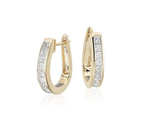 Ohrringe Diamant by Princess Cut Hoop Earrings In 18k Yellow Gold 1 1