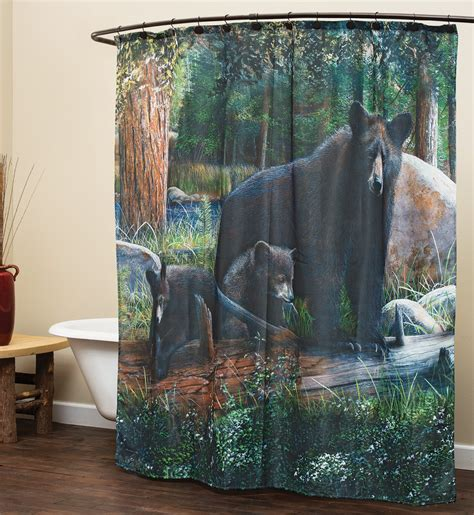 bears curtains black bear family shower curtain