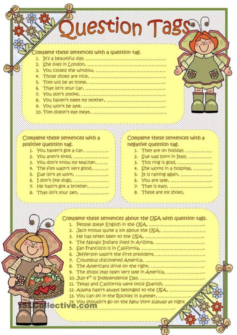 printable worksheets on question tags 79 best tag questions images on pinterest tag question