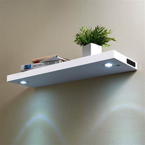floating shelves with led lights led shelf 80cm white shelving b m