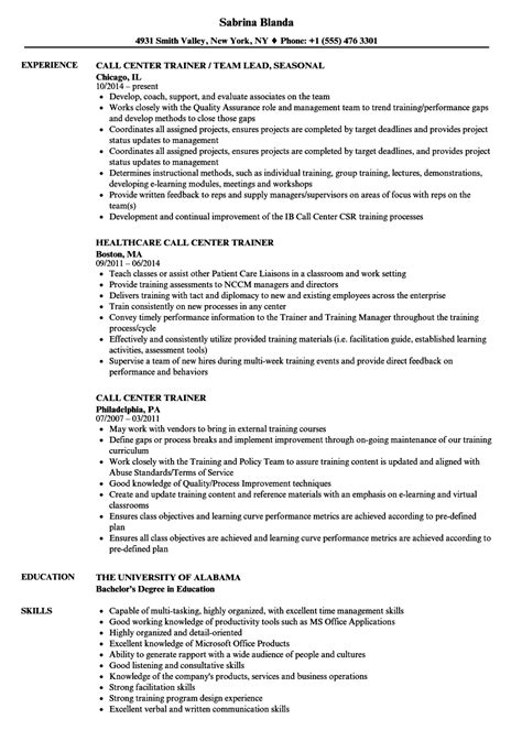 sle resume for call center trainer position sle resume for bpo experienced images model resume template