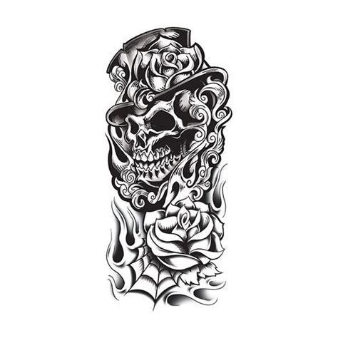 tatouage temporaire t 234 te de mort et roses old