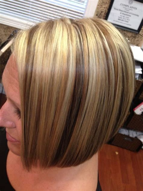 blonde foil highlights short hairstyle 2013 2013 highlights lowlights haircolor angled bob blonde