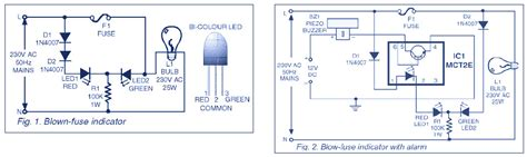 indicator circuit for mains 220v blown fuse schematic design