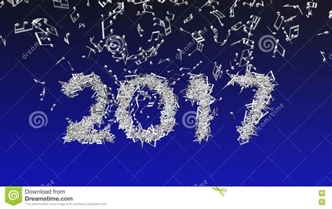 2017 new year made from musical notes stock illustration