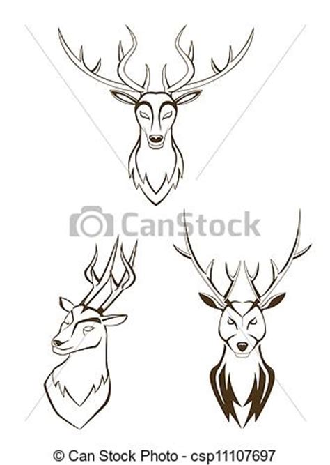 eps vectors of set deer head csp11107697 search clip art