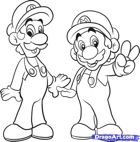Mario Bros Drawings how to draw mario bros step by step