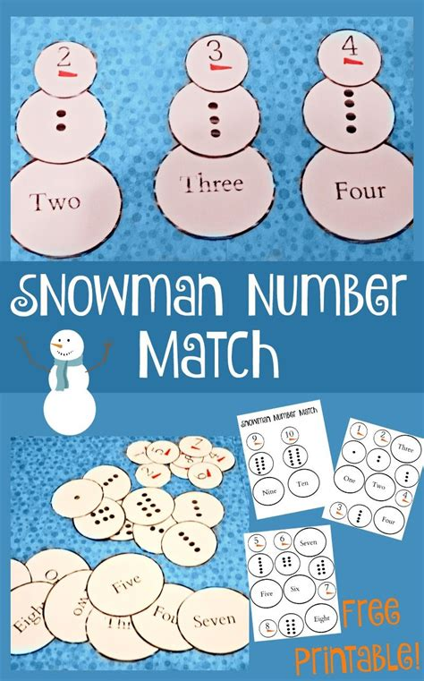 printable snowman activities for preschool this fun free printable snowman number match game is a