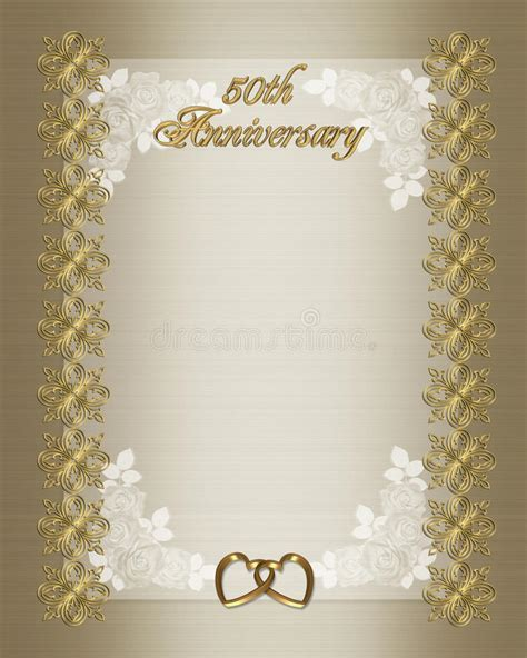 50th Wedding Anniversary Invitation Template Stock