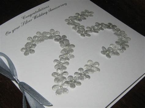 Handmade 25th Anniversary Cards - personalised handmade 25th silver wedding anniversary card