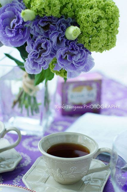 Flower Tea For Detox by Flower Purple Tablecloth And Coffee On