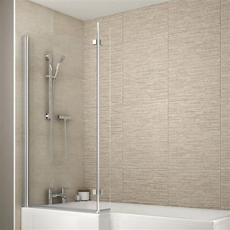 Wickes Bathrooms Showers Wickes Aluminium Glass L Shaped Shower Bath Screen Wickes Co Uk