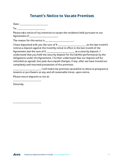 30 Day Notice To Landlord Sample Template
