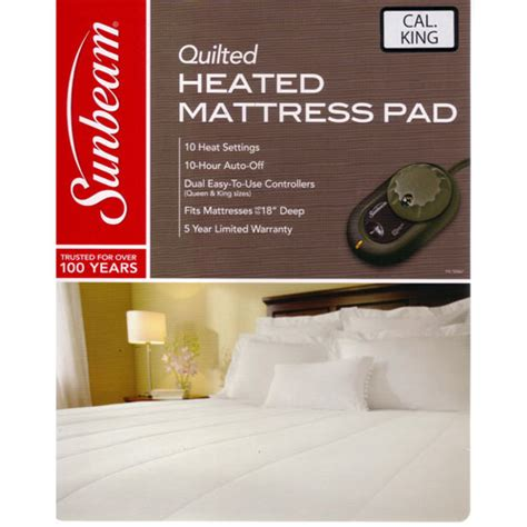 King Size Heated Mattress Pad by Sunbeam Quilted Heated Electric Mattress Pad Stripe
