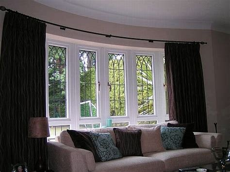 window decor curtains for bay windows in living room home design