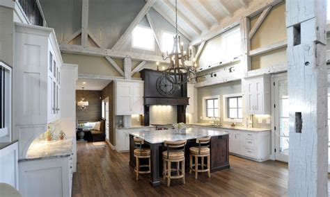 interior white cabinet on the wooden floor pole barn