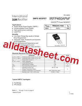 harga transistor irf 460 irfp460apbf datasheet pdf international rectifier