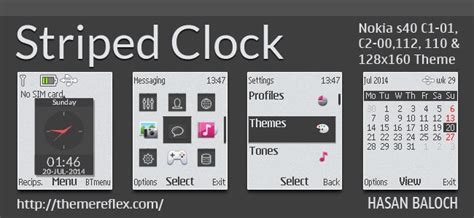 themes clock c1 striped clock theme for nokia c1 01 c1 02 c2 00 2690