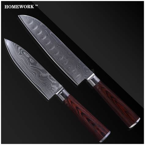 homework luxury damascus knives set 7 inch santoku 6 inch