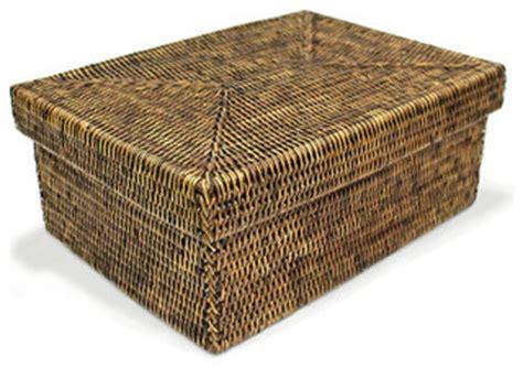 rattan rectangular storage basket  lid small