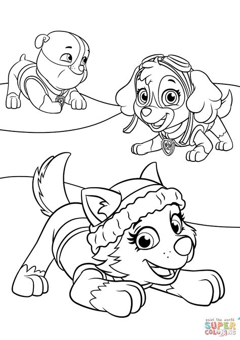 coloring page paw patrol everest paw patrol everest free coloring pages