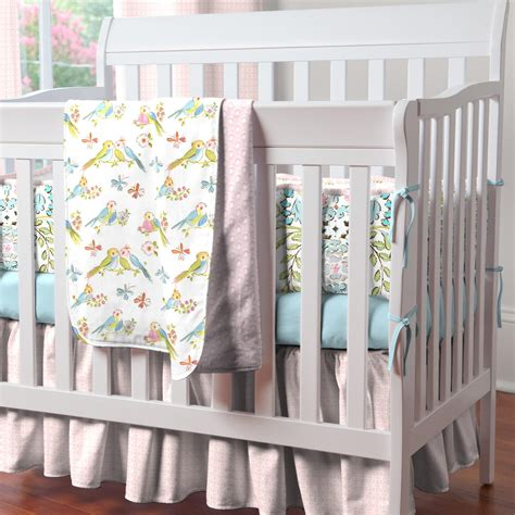 baby coverlet love birds portable crib bedding carousel designs