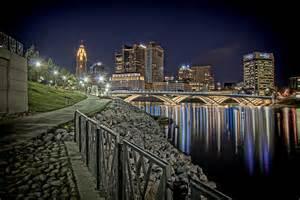 lights columbus ohio columbus ohio downtown city lights reflecting on scioto