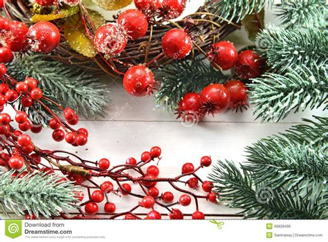 christmas decorations with berries and new year greeting card with berries and conifer stock photo image 46828496