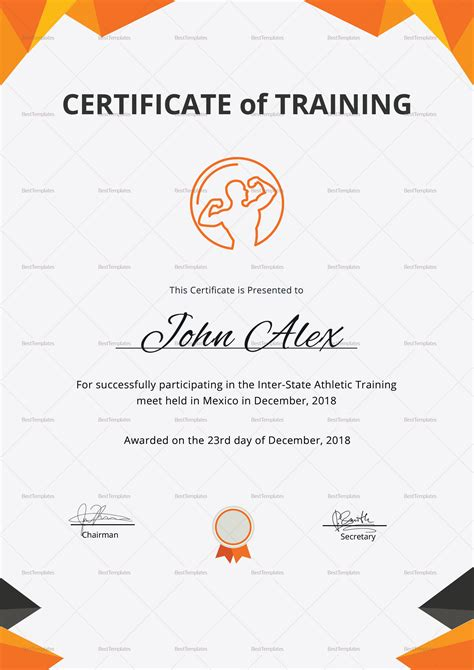 seminar certificate layout physical fitness training certificate design template in