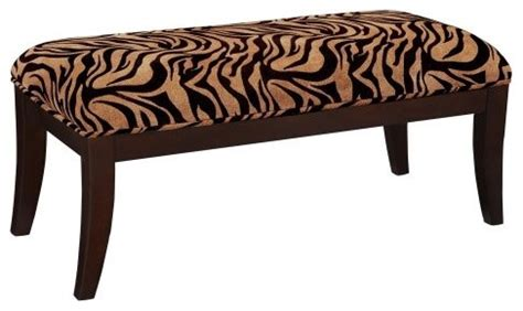 tiger bench tiger print on cherry frame bench contemporary bedroom