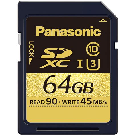 Memory Card Sdxc Panasonic 64gb Gold Series Uhs I Sdxc Memory Card Rp Sduc64gak