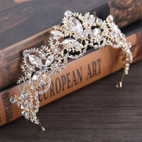 Wedding Hair Accessories Light by Light Gold Baroque Luxury Bridal Crown Tiara