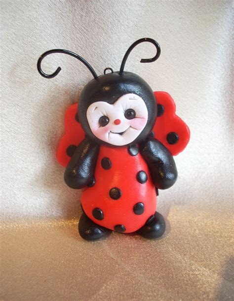 ladybug christmas ornament polymer clay gift personalized