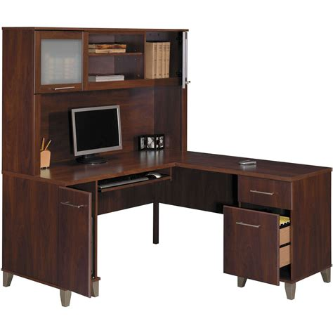 Store Your All Office Items Through Computer Desk With Desk With Hutch