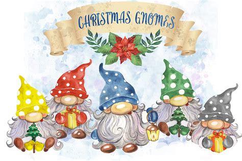 christmas gnomes clipart watercolor scandinavian gnomes
