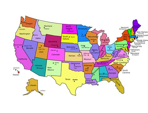 usa map with all states and capitals united states road map