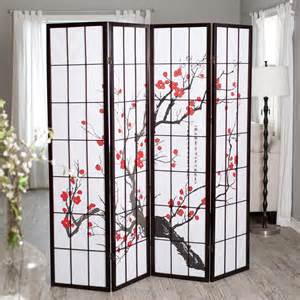 4 panel room divider plum blossom